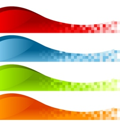 Colorful Pixel Swoosh Banners vector image vector image