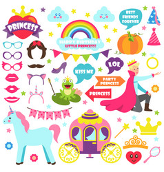 fairy tale carnaval icons set vector image