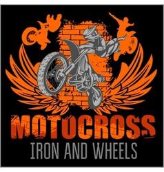 Motocross sport - grunge poster vector image vector image