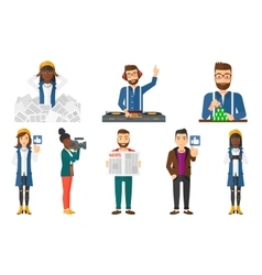 set of business characters and media people vector image