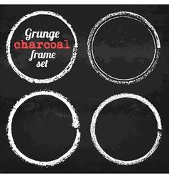 Set of four grunge circle chalk frames vector