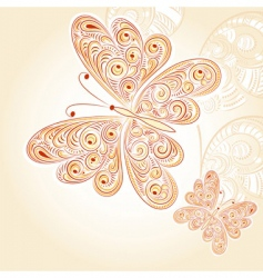 spring butterflies with floral ornament vector image vector image