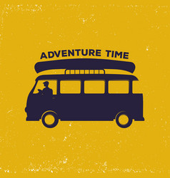 vintage with bus and man driving with vector image