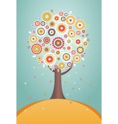 Cartoon tree with flowers vector image