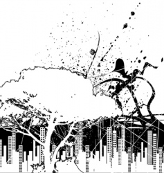 grunge city and nature vector image