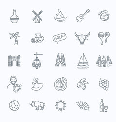spain outlined icon set vector image vector image