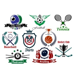 Sporting emblems and badges vector image