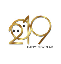 2019 number pig gold vector image