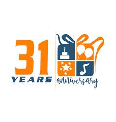 31 year gift box ribbon anniversa vector