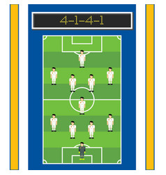 4-1-4-1 soccer formation with man player in pitch vector