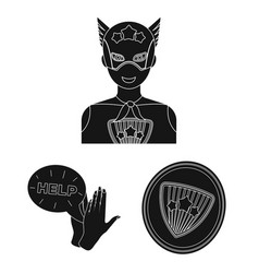 A fantastic superhero black icons in set vector