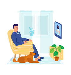A man sits in an armchair and watches tv a man vector