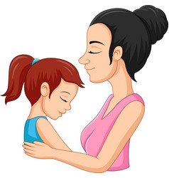 A mother hugging her daughter vector