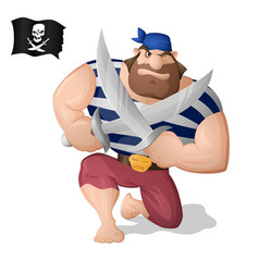 a pirate with the swords vector image