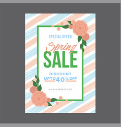 abstract blue and pink spring poster with green vector image