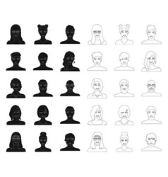 Avatar and face blackoutline icons in set vector