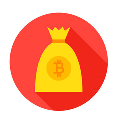 bitcoin money bag circle icon vector image vector image