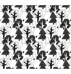 Black and white winter forest seamless pattern vector image