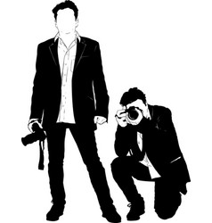 black silhouette photographer vector image