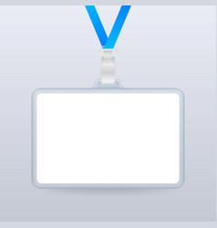 blank plastic id badge mockup on metal clip stock vector image