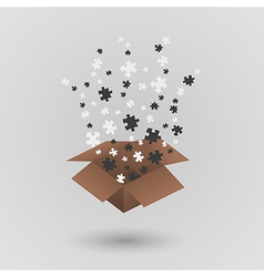 brown paper box and puzzle pieces vector image