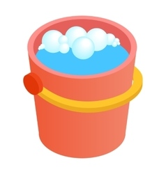 Bucket with water for cleaning isometric 3d icon vector