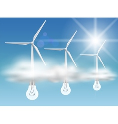 Bulb-turbines in the clouds vector