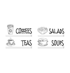 cafe or restaurant menu template with cup hot vector image