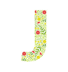 Capital letter j green floral alphabet element vector