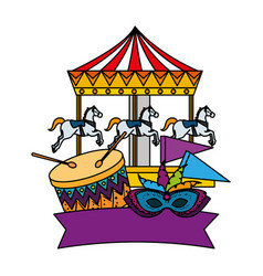 Carnival carousel horses with drum and mask vector