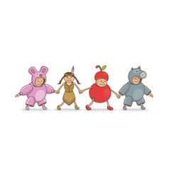 carnival costumes adorable animal apple baby vector image
