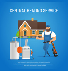 Cartoon plumber central heating service of house vector
