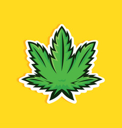 cartoon style cannabis leaf on yellow background vector image