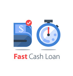 cash back bundle bills and stopwatch easy vector image