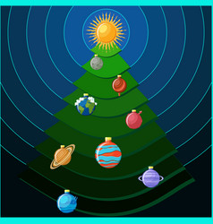 christmas tree with solar system planets as vector image