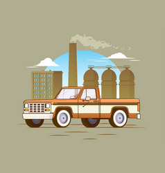 Classic american pickup truck concept vector