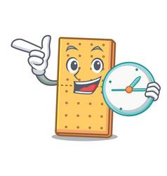 Clock graham cookies character cartoon vector