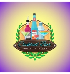 color flat cocktail bar emblem template vector image