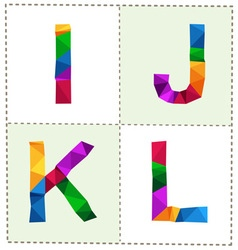 colorful polygonal alphabet slim vector image