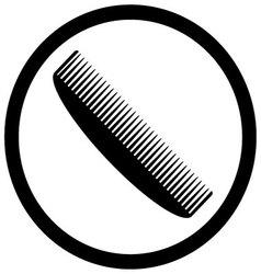 Comb icon black white design flat vector