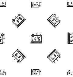 computer monitor and dollar signs pattern seamless vector image