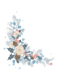 Corner border eucalyptus and pine branches roses vector