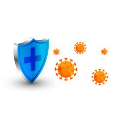 Coronavirus protection shield stopping virus to vector
