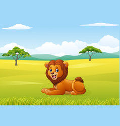 Cute lion sitting in the african landscape vector
