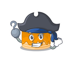 Cute orange cake mascot design with a hat vector