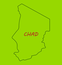 Detailed of a map of chad with flag eps10 vector