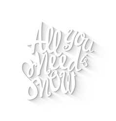 Doodle lettering symbol of snow and winter vector