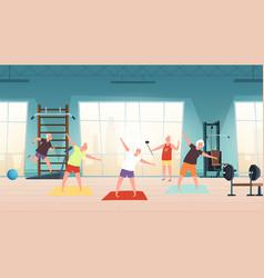elderly in gym happy seniors active lifestyle vector image