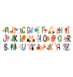 English alphabet with cute animals vector
