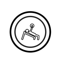 Figure symbol person lifting weights gym vector